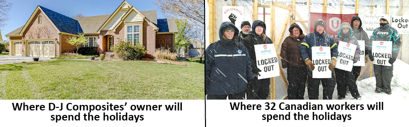 While D-J President spends the holidays at home, Canadian workers remain locked-out in the cold.